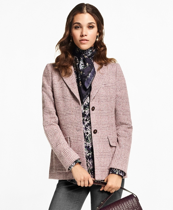 Prince of Wales Wool-Angora-Blend Jacket
