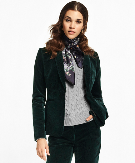 Paisley-Print Velvet Shawl-Collar Jacket