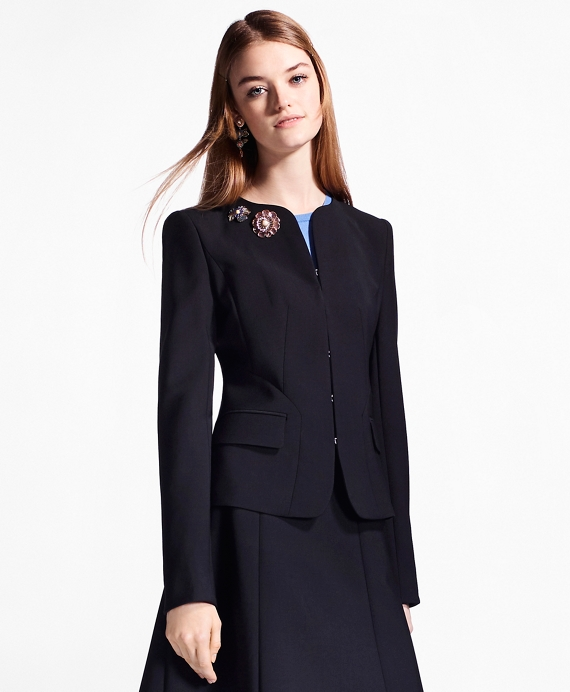 Double-Weave Stretch-Wool Jacket Black