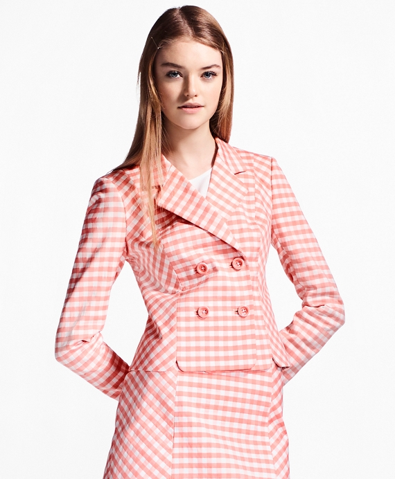 Gingham Double-Weave Jacket Pink