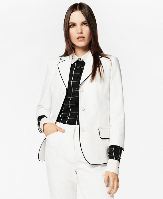 Tipped Stretch Cotton Pique Three-Quarter Sleeve Jacket White