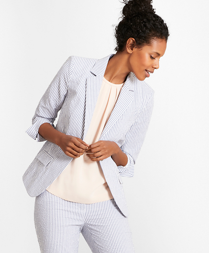 Striped Stretch Cotton Seersucker Jacket