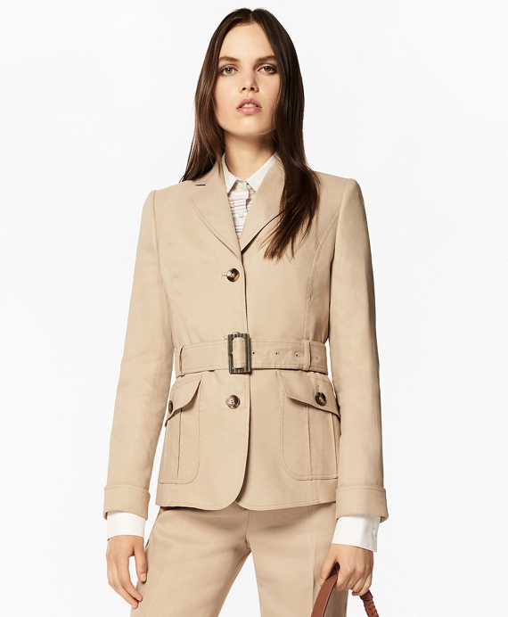 Linen-Blend Safari Jacket Oatmeal