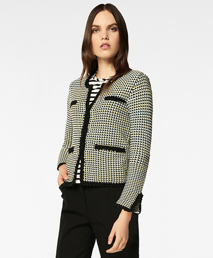 Checked Cotton Sweater Jacket