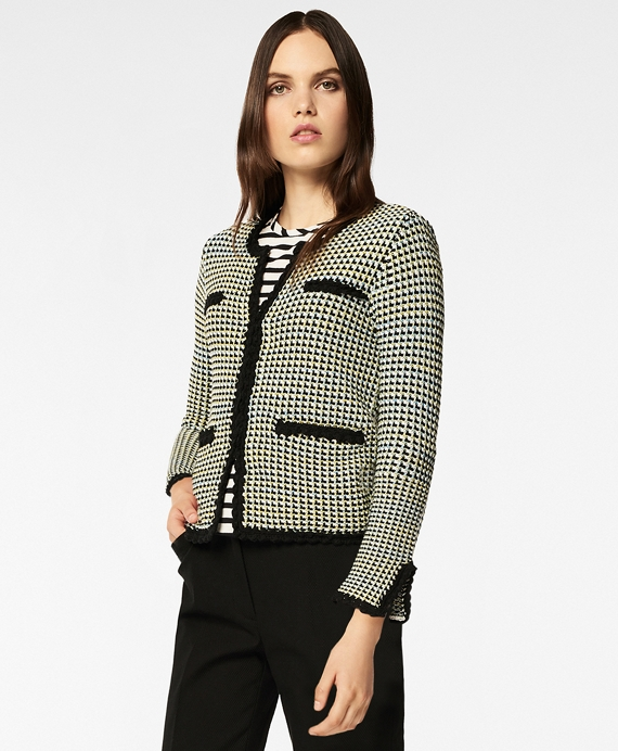 Checked Cotton Sweater Jacket Black-Multi