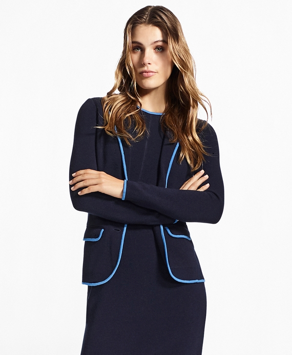 Milano-Knit Merino Wool Rowing Blazer Navy