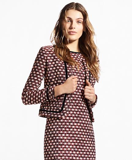 Velvet-Trimmed Tweed Zip Jacket