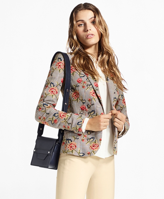 Floral-Embroidered Mini-Houndstooth Cotton Jacket Grey-Multi