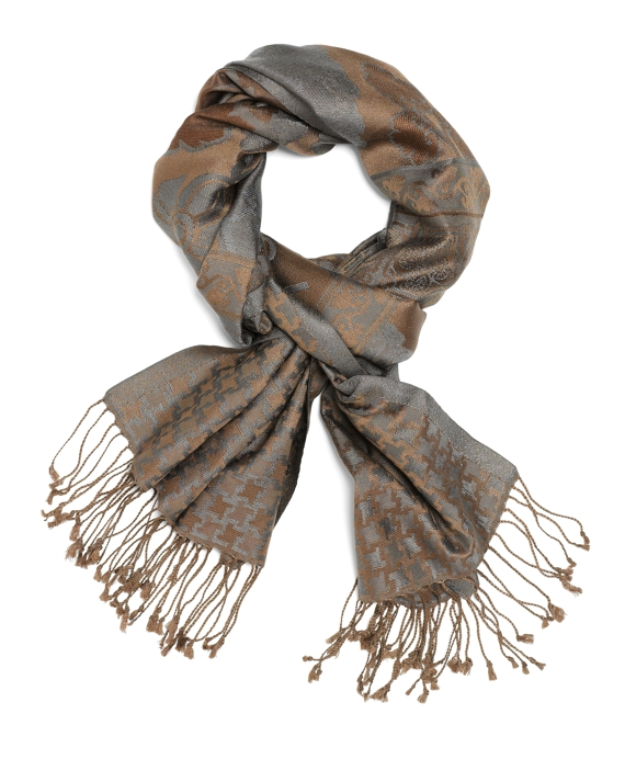 Houndstooth Jacquard Wrap Bronze-Grey