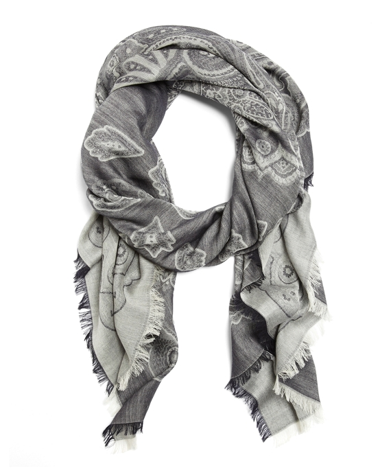 Cotton and Wool Paisley Wrap Grey