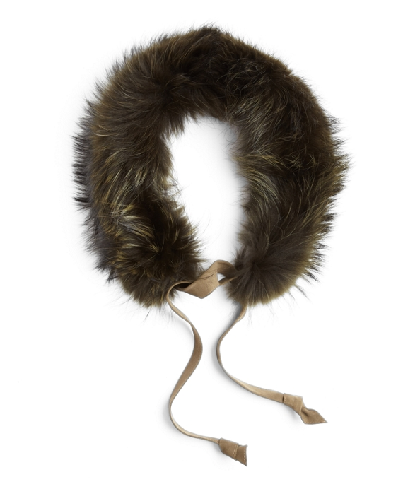 Raccoon Fur Collar with Suede Ribbon Tie Olive