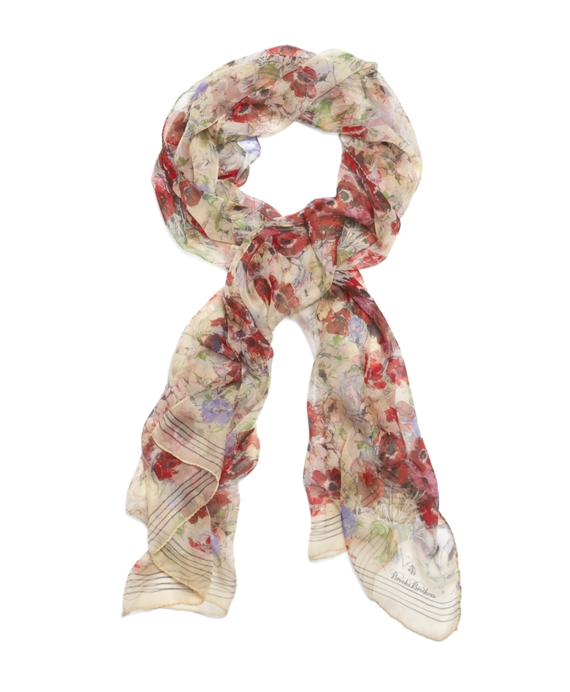 Bouquet Silk Chiffon Oblong Scarf Red