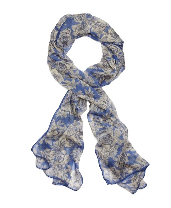 Silk Chiffon Roses Oblong Scarf Blue