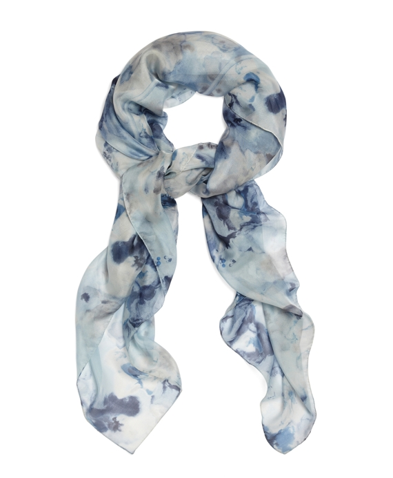 Silk Chiffon Watercolor Floral Square Scarf Light Blue