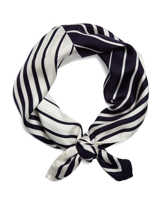 Silk Optical Illusion Scarf Navy