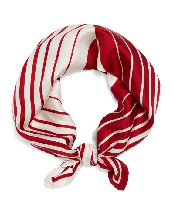 Silk Optical Illusion Scarf Red