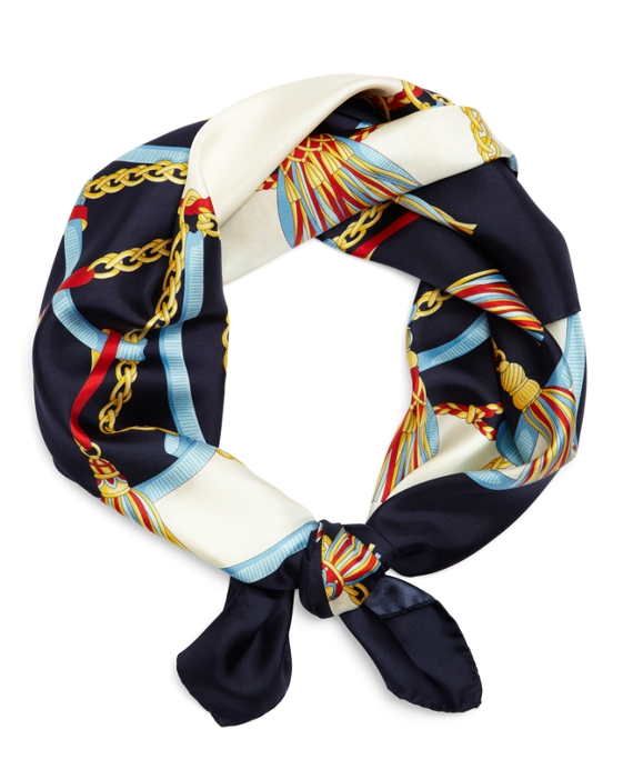 Silk Tassel Square Scarf Navy