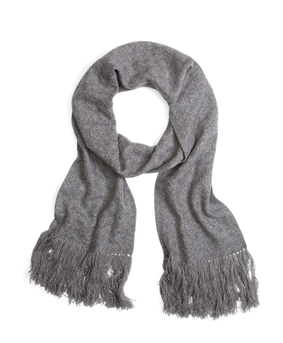 Cashmere Cable Knit Scarf Grey
