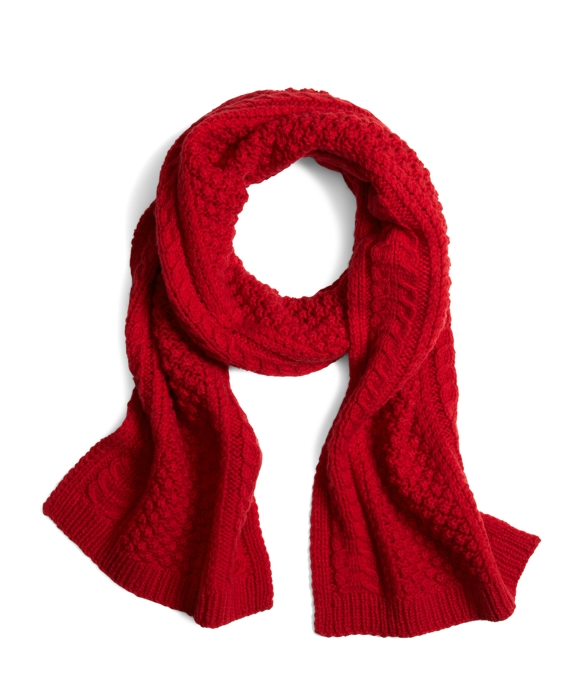 Cashmere and Wool Cable Knit Scarf Red