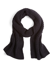 Cashmere and Wool Cable Knit Scarf