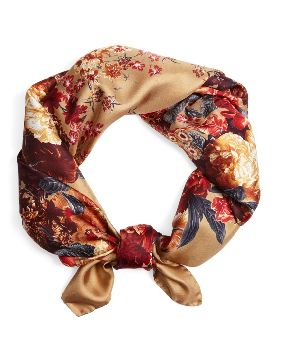 Tossed Flowers Silk Square Tan