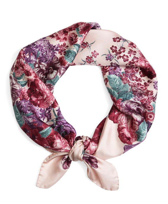Tossed Flowers Silk Square Pink