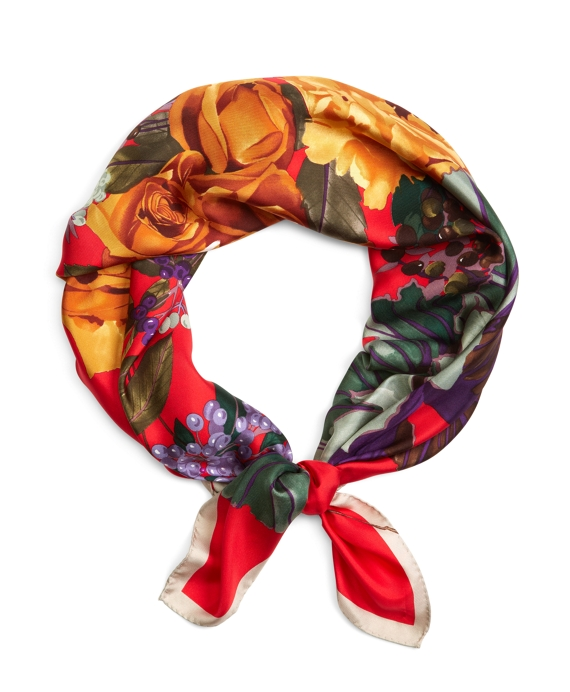 Floral Silk Square Red