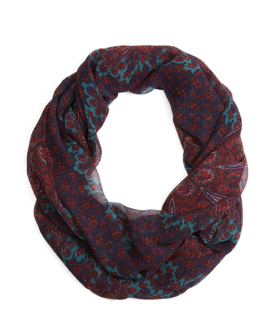 Crinkled Paisley Silk Chiffon Loop Scarf Navy-Red