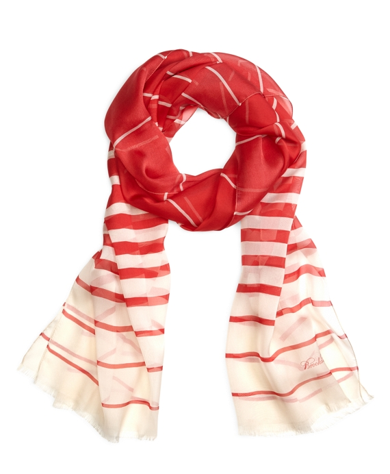 Silk Chiffon Stripe Oblong Red