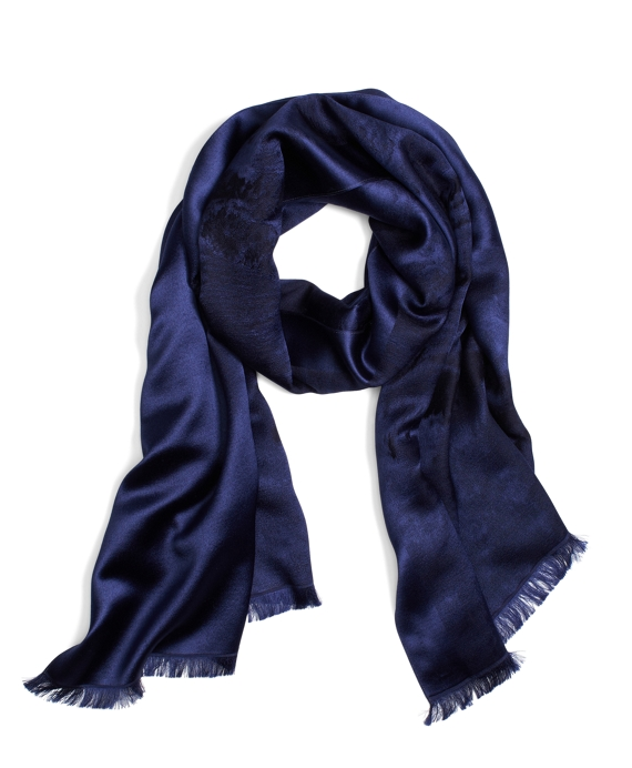 Marble Wool Jacquard Wrap Navy