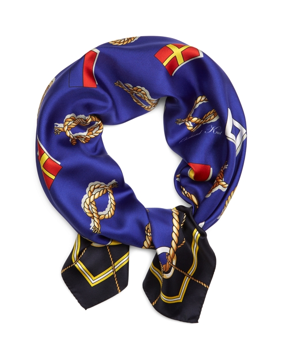 Sailing Flags and Knots Silk Square Navy