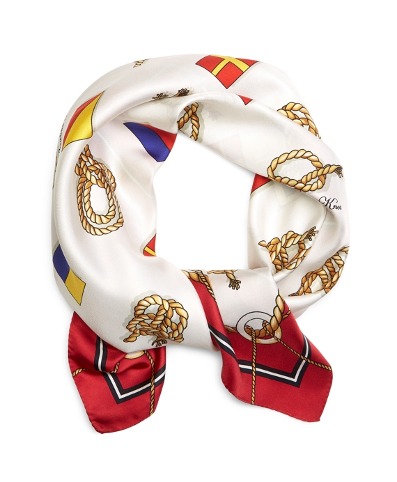 Sailing Flags and Knots Silk Square Red