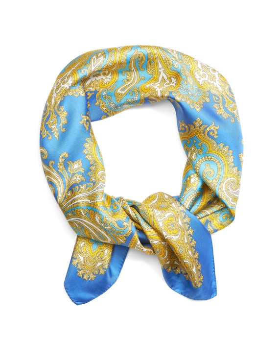 Paisley Silk Square Blue-Yellow
