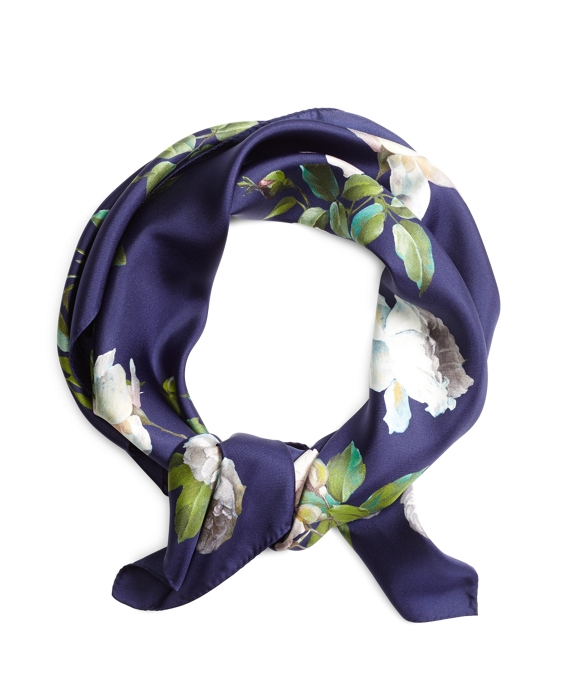 Rose Floral Print Silk Square Navy