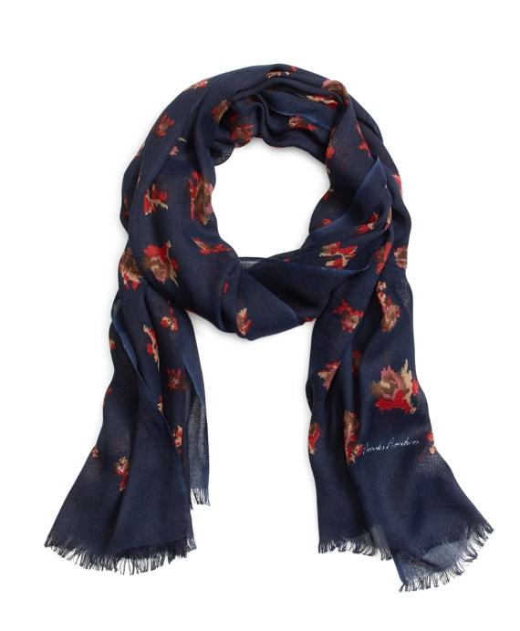 Rose Print Wool Blend Oblong Navy