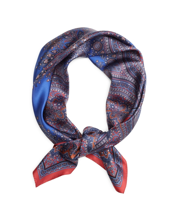 Paisley Medallion Silk Square Blue