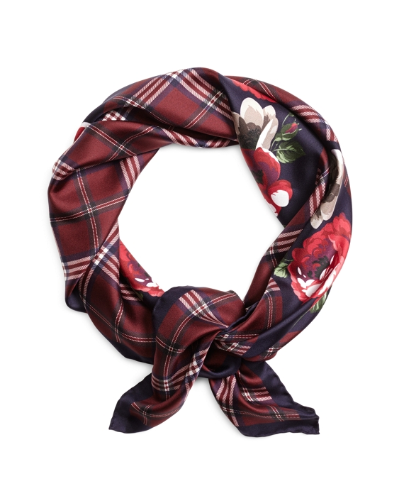 Tartan with Floral Silk Square Burgundy