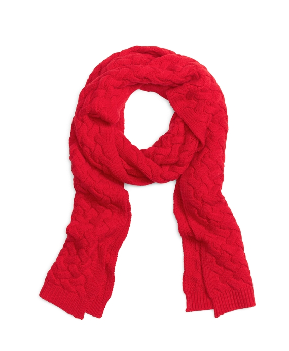 Wool Cable Knit Scarf Red