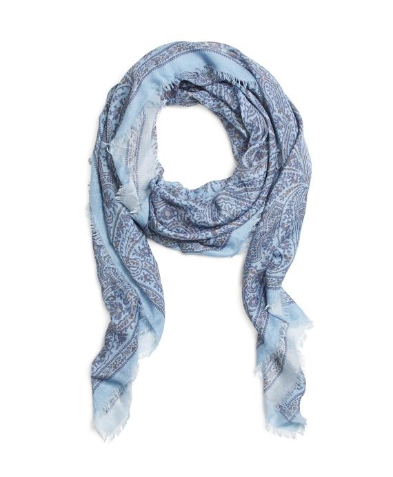 Silk Oversized Paisley Square Blue