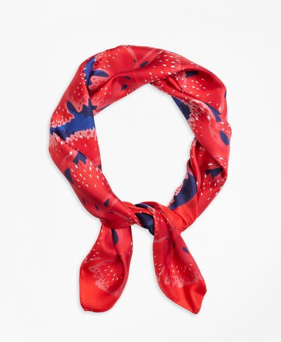 Flower Print Silk Scarf Red