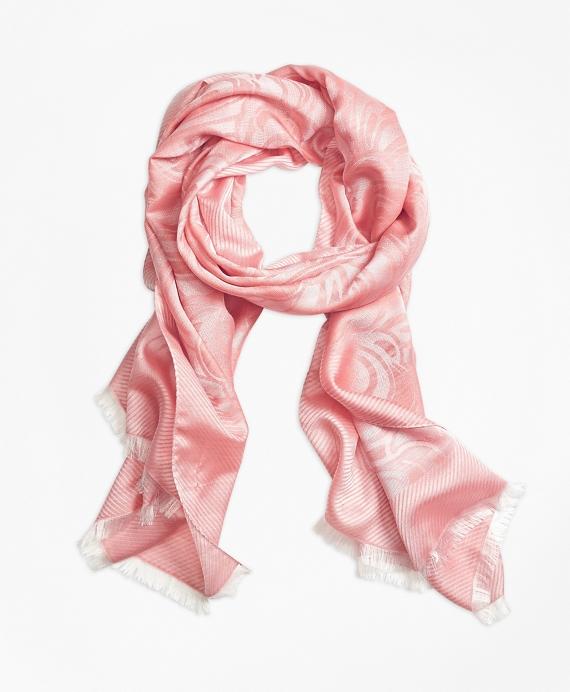Jacquard Silk Wool Fringe Scarf Pink
