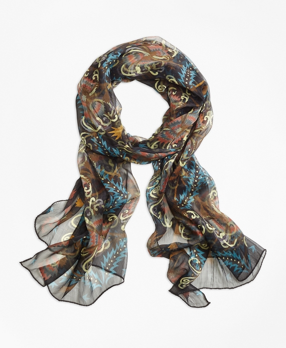 Silk Chrysanthemum Oblong Scarf