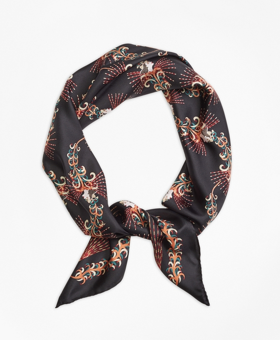 Flower Silk Twill Scarf Navy