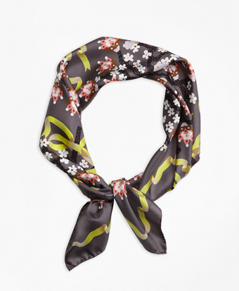 Floral Silk Twill Square Scarf with Ribbon