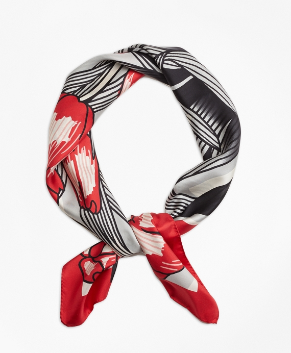 Silk Twill Tulip Square Scarf Red