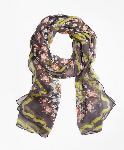 Floral Silk Chiffon Scarf with Ribbon