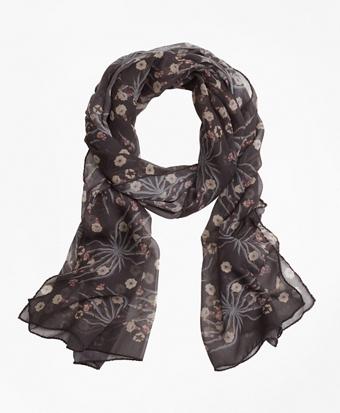 Floral Silk Chiffon Scarf