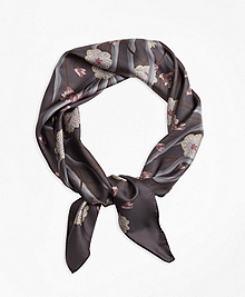 Floral Silk Twill Square Scarf