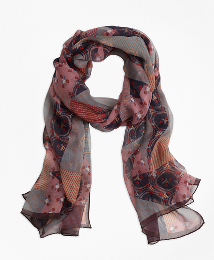 Silk-Chiffon Foulard Oblong Scarf