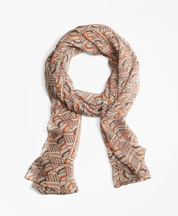 "Silk ""BB"" Initial Scarf Brown"